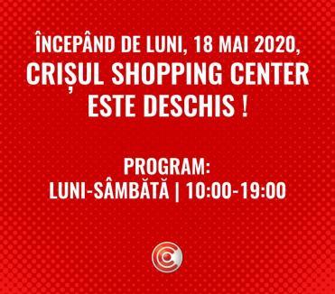 Crişul Shopping Center s-a redeschis!