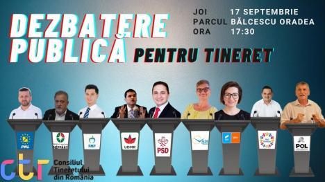 Tinerii îi provoacă! Dezbatere cu candidaţii la Primăria Oradea, joi, în Parcul Bălcescu