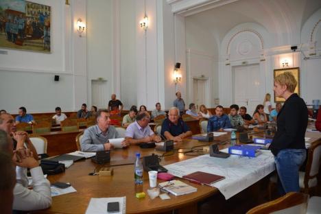 Regulament.... cu cântec! Dezbaterea pe teme de urbanism din Oradea, 'sabotată' de spectacolul folcloric din Piaţa Unirii (FOTO/VIDEO)