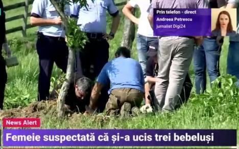 Groaznic! O româncă şi-ar fi ucis trei bebeluşi, abia născuţi, şi i-a îngropat în curte