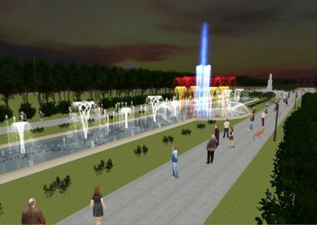 Cum va arăta fântâna muzicală cu jocuri de apă şi de lumini din Parcul 1 Decembrie