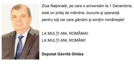 Mesajul deputatului Găvrilă Ghilea de Ziua Națională