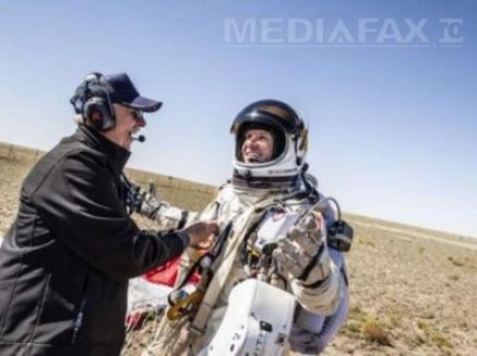 Salt istoric: Felix Baumgartner a sărit din stratosferă, a depăşit viteza sunetului şi a stabilit două recorduri mondiale (VIDEO)