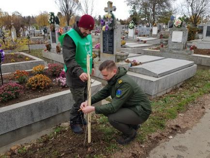 De Centenar, 100 de stejari au fost plantaţi în Cimitirul Municipal de Garda Forestieră şi Direcţia Silvică (FOTO)