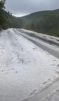 Peisaj de iarnă, în prag de vară: Covor de grindină într-o localitate din Alba (FOTO)