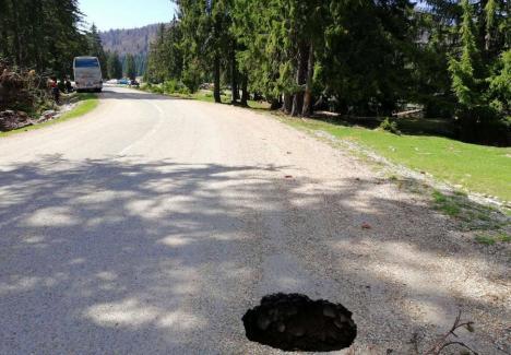 Se surpă şoseaua: groapă adâncă de 6 metri, pe drumul spre Padiş! (FOTO)