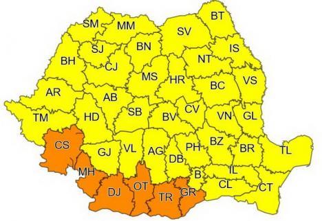 Cod galben de vânt, inclusiv în Bihor. La munte va ninge viscolit