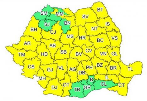 Cod galben, marţi, în Bihor: Intensificări ale vântului şi răcire accentuată