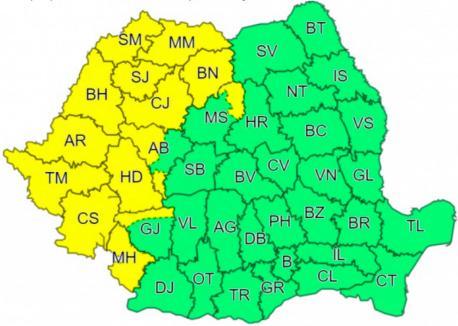 Cod galben de ploi şi intensificări ale vântului în Bihor
