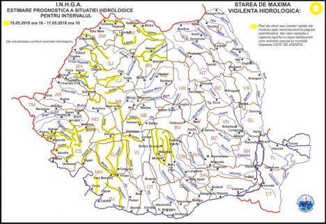 Pericol de inundaţii: Cod galben pe râurile din Bihor