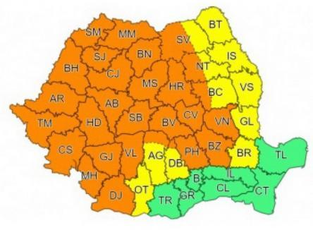 Aproape toată țara, inclusiv județul Bihor, sub cod portocaliu de vreme rea