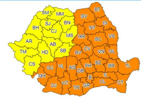Cod portocaliu de frig în mai bine de jumătate de ţară. Judeţul Bihor, sub cod galben