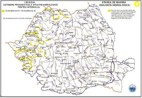 Avertizare de tip cod galben pe râuri din Bihor. Au crescut cotele de atenție!