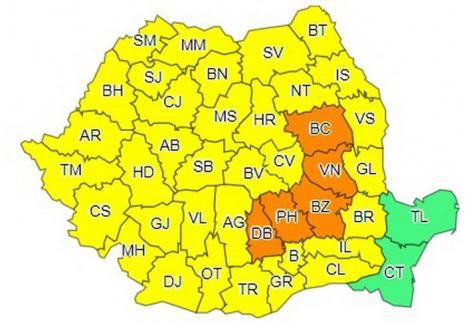 Cod galben de furtuni în Bihor. Cinci judeţe, sub cod portocaliu!
