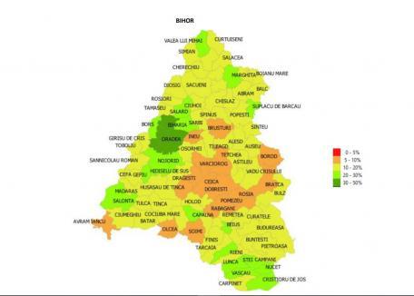 Cum arată harta Bihorului, în funcţie de vaccinarea anti-Covid. Comuna Sântandrei, prima în top