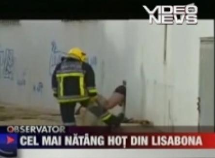 Hoţ român, la Lisabona: A rămas înţepenit în pielea goală în fereastră (VIDEO)