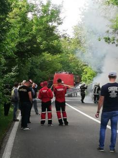 Maşină făcută scrum, pe DN 76: Incendiul a distrus autovehiculul în întregime (FOTO/VIDEO)
