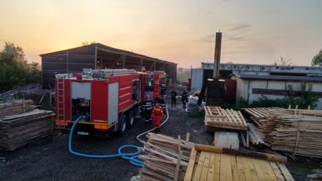 Incendiu violent la o fabrică de mobilă din Oradea! Paznicul a ajuns la spital (FOTO / VIDEO)