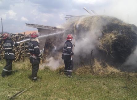 Peste patru tone de fân şi porumb, făcute scrum în Leş (FOTO / VIDEO)