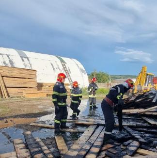 Angajaţii unei fabrici de mobilă din Bihor au dat foc la rumeguş şi au plecat acasă! Incendiul a cuprins o magazie plină cu cherestea (FOTO / VIDEO)