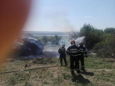 Incendiu de proporţii la un adăpost de oi din Urvind: peste 50 de tone de fân au luat foc (VIDEO)