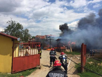 Incendiu cu explozii în Sântandrei: Un bărbat a ajuns la spital, cu arsuri pe mâini şi faţă (FOTO/VIDEO)