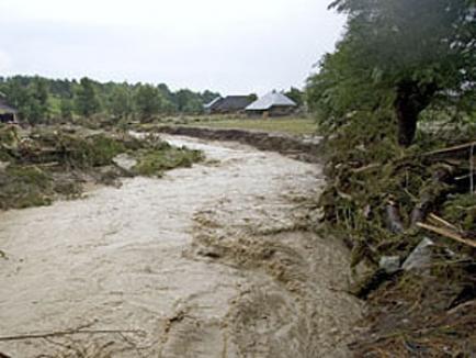 Zeci de gospodării şi mii de hectare teren agricol inundate