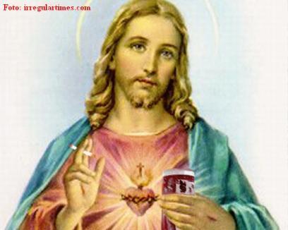 Iisus cu ţigări şi bere în mână, într-un manual şcolar
