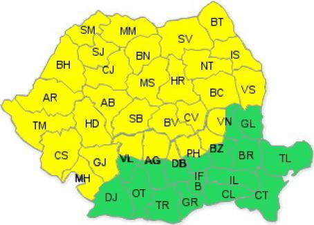 Cod galben de ploi şi în Bihor