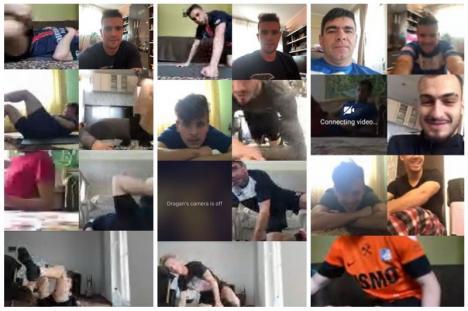 """Luceafărul online: jucătorii echipei de fotbal bihorene fac exerciții de acasă pe """"mess"""" cu antrenorii"""