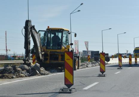 Trafic îngreunat, de luni, pe centura Oradea: Şantierul pasajului suprateran îngustează la o bandă şoseaua în zona străzii Universităţii