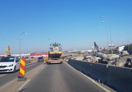 Lucrările la noul pasaj deviază traficul pe Centura Oradea. Vezi cum se va circula de miercuri! (FOTO)