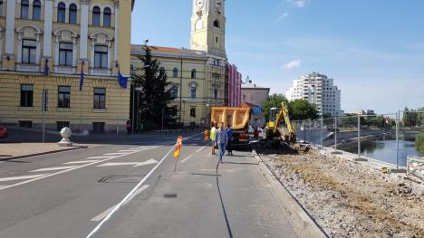Amenajarea malului stâng al Crişului Repede în centrul Oradiei, aproape la jumătate (FOTO)