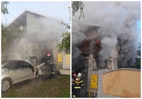 Maşină distrusă de flăcări în garajul unei case din Salonta (FOTO)