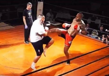 Debut cu dreptul: Interlopul orădean Romi Neguş a câştigat primul său meci de kickbox (VIDEO)