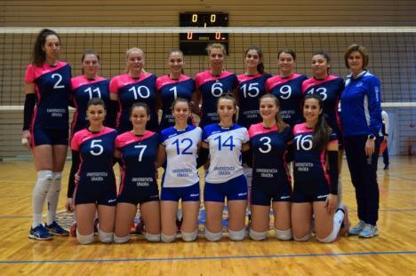 Învinse clar la Târgu Mureș, voleibalistele de la CSU Oradea s-au calificat pentru turneul semifinal al Diviziei A2