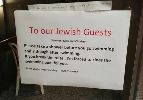 Scandal în toată lumea, după ce conducerea unui hotel a afişat mesajul: Dragi evrei, faceţi duş!