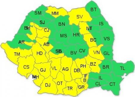 Cod galben de ploi parţial şi în Bihor