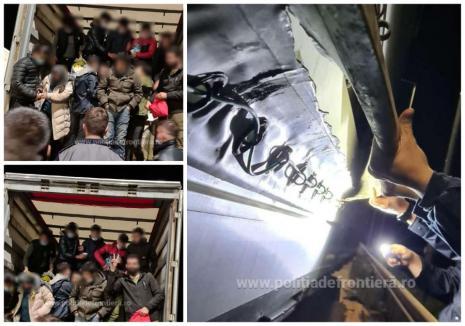 'Colete' de oameni! 44 de migranţi, prinşi în Bihor, după ce au vrut să fugă în Ungaria, ascunşi în TIR-uri (FOTO / VIDEO)