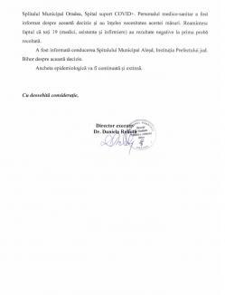 """""""Bomba"""" de la Aleșd, ținută la secret de DSP Bihor: Secţia de Pneumologie a Spitalului Orășenesc, închisă și plasată în carantină. 7 persoane infectate"""
