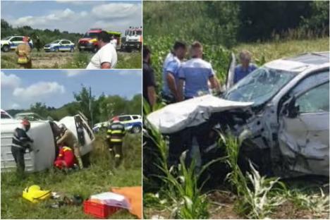 Accident grav pe DN1, în Bihor, între un autoturism şi o autoutilitară. O persoană a fost dusă la Urgenţe în stare critică (VIDEO)