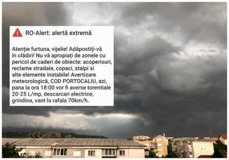 Atenţie, furtună şi vijelie! Cod portocaliu în Oradea şi zeci de comune, bihorenii avertizaţi cu mesaje Ro-Alert