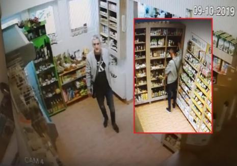 Prins în flagrant: un hoţ a fost filmat furând fără jenă dintr-un magazin din Oradea (VIDEO)