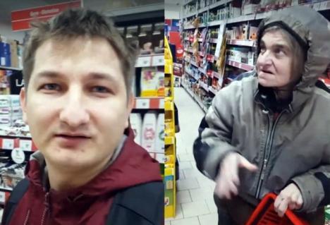 A dăruit din inimă: Un tânăr orădean, filmat când făcea cumpărăturile pentru o femeie a străzii (VIDEO)
