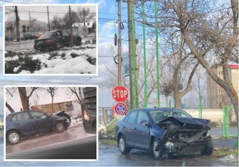 Accident pe Calea Borşului. O maşină a Direcţiei Antifraudă s-a făcut praf, lovită de un BMW