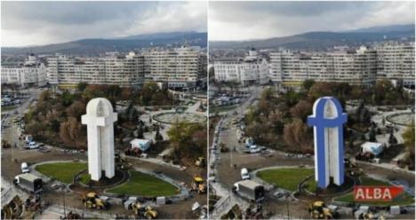 Monumentul Facebook: La Alba Iulia, un monument dedicat Unirii seamănă cu sigla reţelei de socializare (VIDEO)