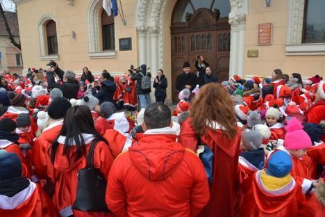 Centrul Oradiei, 'invadat' de moşuleţi! Elevii de la Liceul Greco-Catolic au pornit la colindat (FOTO / VIDEO)