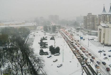 Oradea a albit! Prima ninsoare din această iarnă a scos utilajele RER pe străzi