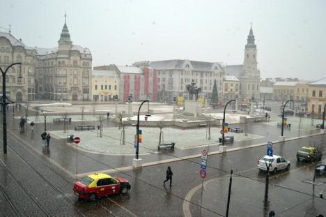 Ninsoare peste Oradea: Utilajele şi muncitorii RER au ieşit la deszăpezit (FOTO)