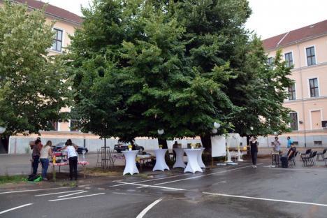 'Nuntă' la Gojdu: În cinstea celor 25 de ani de căsnicie, o orădeancă şi-a surprins soţul cu o petrecere în curtea Colegiului (FOTO/VIDEO)